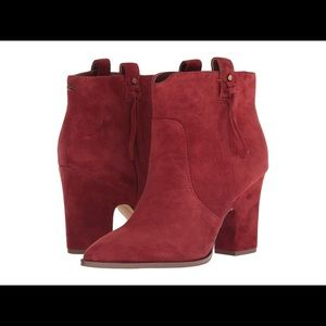 New! Sam Edelman Niomi Red Suede Ankle Boot